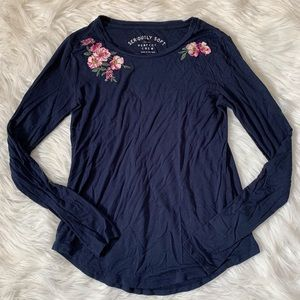 Aero floral embroidered navy long sleeve blouse